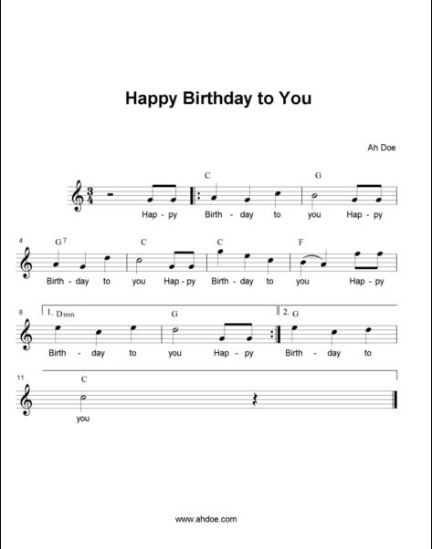 Happy Birthday to you Music Score
