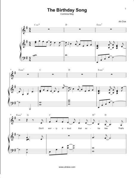 Corrinne May The Birthday Song Piano Sheet Preview