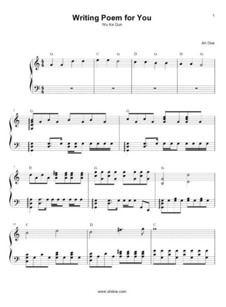 Writing Peom for You Piano Sheet Preview