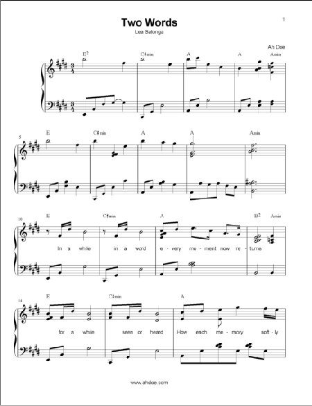 Two Words by Lea Salonga Piano Sheet Preview