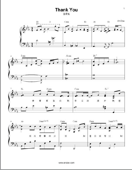 Thank You by Jerry Yan Piano Sheet Preview