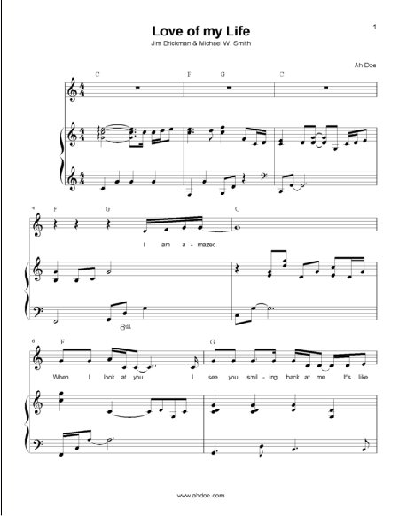 Love of my Life (Jim Brickman) Piano Sheet Preview