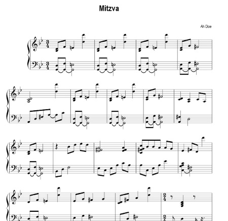 Mitzva Piano Accompaniment Arrangement Preview by Ah Doe