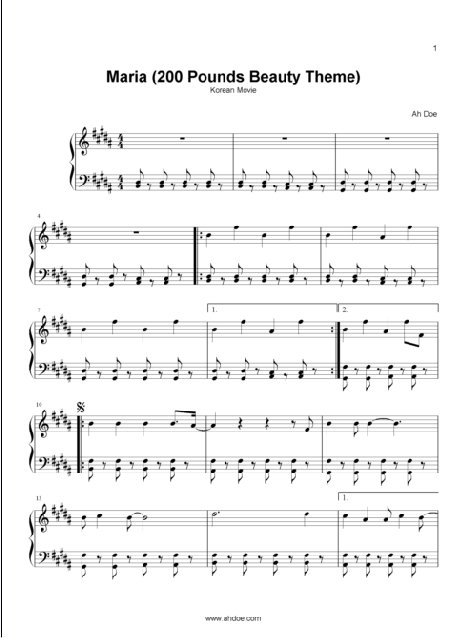 Maria (200 Pounds Beauty) in B Major Piano Sheet Preview