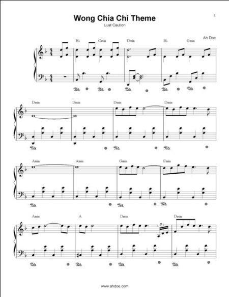Wong Chia Chi Theme Piano Sheet Preview