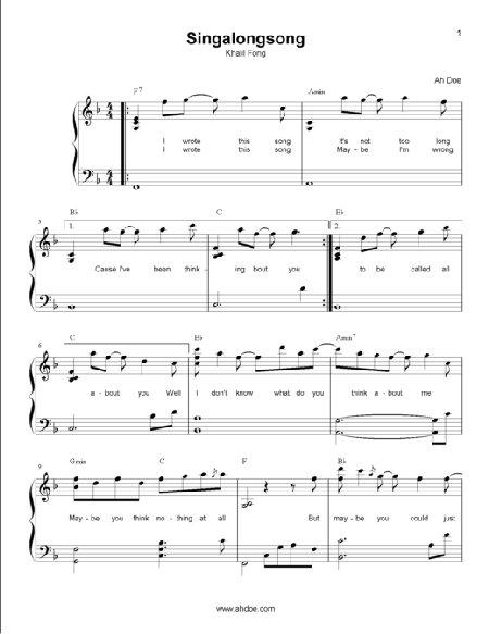 Singalongsong by Khalil Fong Piano Sheet Preview