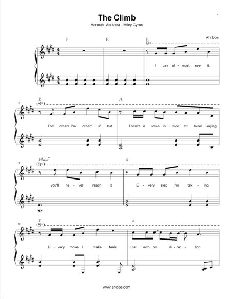 The Climb by Miley Cyrus (Hannah Montana) Piano Sheet Preview
