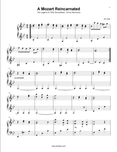 A Mozart Reincarnated from The Legend of 1900 Piano Sheet Preview