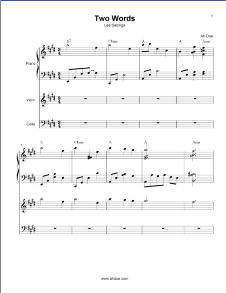 Two Words Cello Violin Music Score Preview