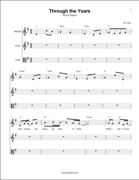 Through The Years String Music Score Preview