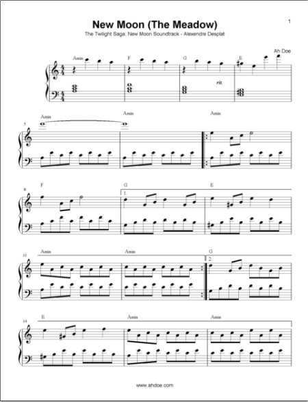 New Moon (The Meadow) from Twilight New Moon Piano Sheet Preview
